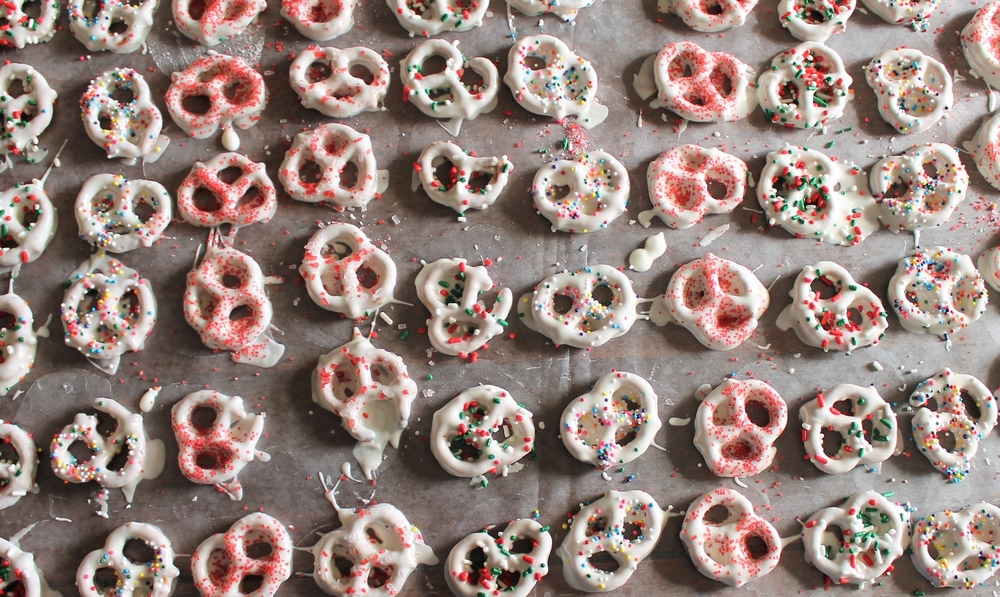 Colorful, dipped pretzels with a holiday motif.