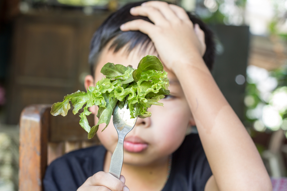 Young boy looking dubiously at his fork with lettuce on it
