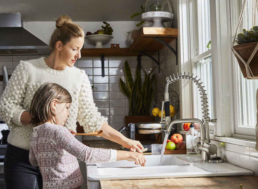 Cookbook author Sarah Copeland works with her daughter in the kitchen